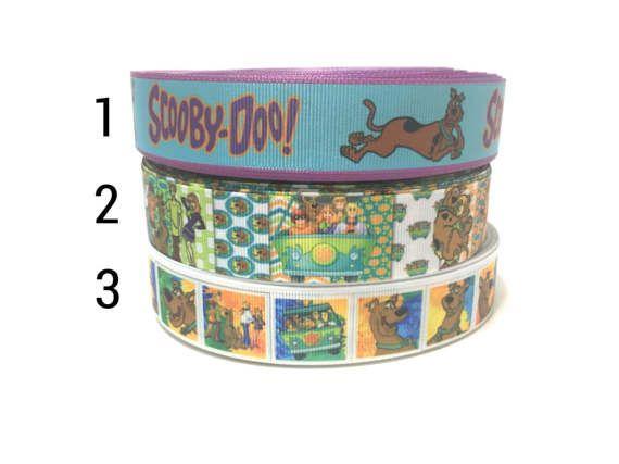 "1"" Scooby Doo Ribbon by the Yard, Great Dane Ribbon, Cartoon Ribbon, Printed Ribbon, Dog Grosgrain Ribbon"