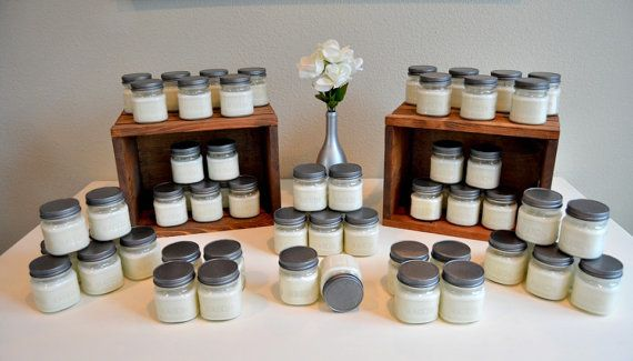 Set of 50 - 8 oz Soy Candle Wedding Favor- Bridal Shower Favor, Baby Shower Favor, Wedding Favor, Mason Jar Soy- Classic Collection