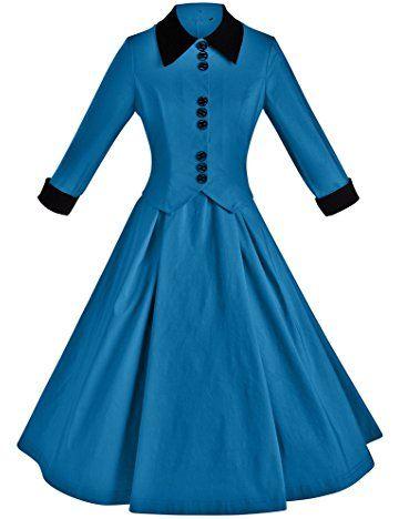 GownTown Women's 1950s Vintage 3/4 Sleeve Rockabilly Swing Dress