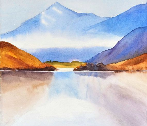 Nancyknightart Et Kanada Berge Aquarell Landschaft Druck See