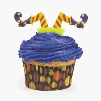 Witches Legs Cupcake Picks.  These witches dive in to give you a smile! Add a bit of fun to your spooky or Halloween cakes or cupcakes  Accessories not included/plastic; 9.53cm     (set of 12)