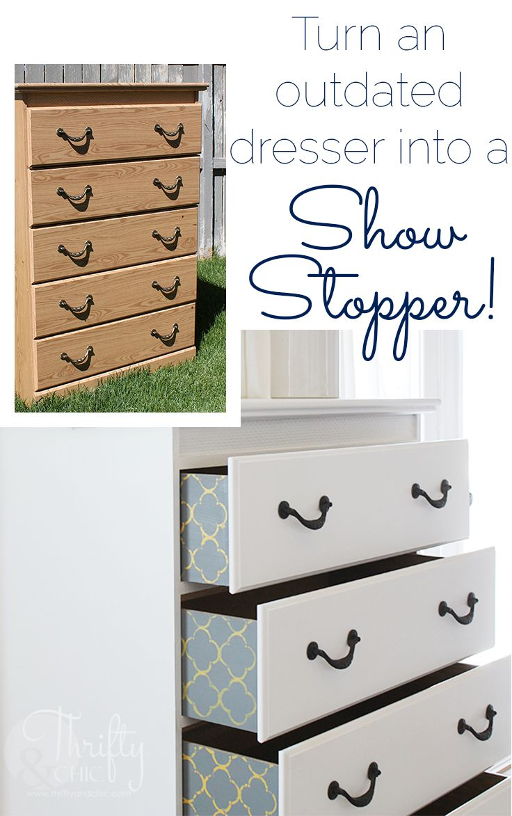 How to paint a dresser, and add a little cute pattern on the drawers…