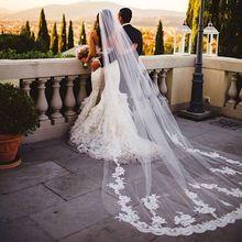 Nuovo 3 metri lungo velo da sposa veli da sposa bianco/avorio bordo in pizzo con pettine accessori da sposa voile mariage(China (Mainland))