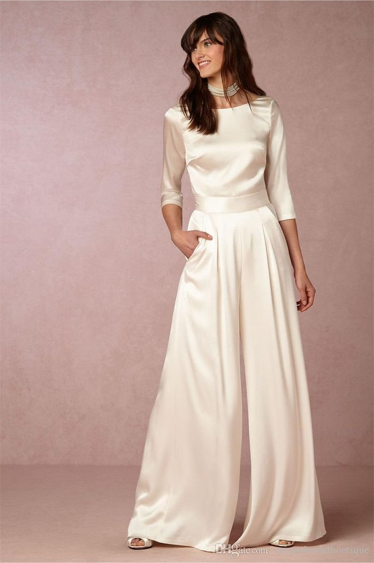 2016 Fall Top & Pant Wedding Dresses Bhldn With 3/4 Long Sleeves And V Back Soft Satin Ivory Bridal Pants Custom Made Wedding Dresses London Wedding Dresses Under 100 From Uniquebridalboutique, $137.88| Dhgate.Com