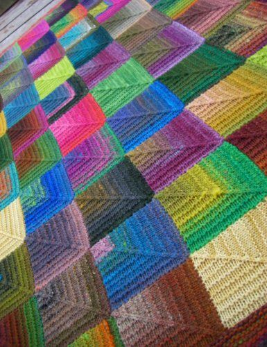 Mitred square Knitted Blanket. The instructions are at ...