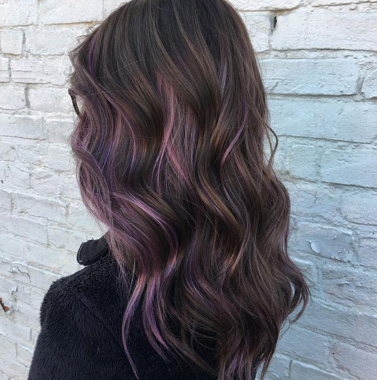 Dark Brown Hair With Purple Highlights Purple Highlights Brown Hair Purple Hair Highlights Brunette Hair Color