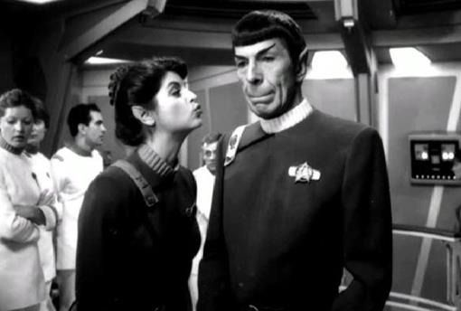 Kirstie Alley and Leonard Nimoy on the set of The Wrath of Khan 1982.