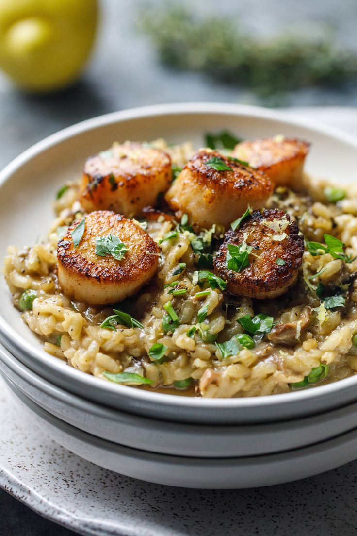 Scallops with Porcini Mushroom Risotto - it doesn't take long to prepare and will impress your dinner guests.