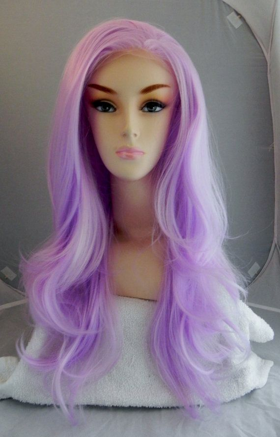 ON SALE / Lavender Light Purple / Long Wavy Lace Front par ExandOh, $71.40