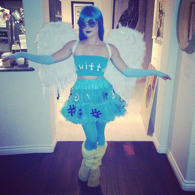 Pin for Later: Look Back at All of Last Year's Memorable Celebrity Halloween Costumes! Lucy Hale as the Twitter Bird Lucy Hale wore blue lipstick to complete her Twitter bird look.