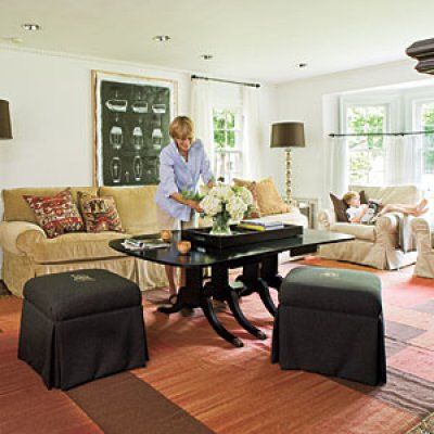 Cut down a dining table to make a coffee table...Choose Furniture that Fits the Scale of Your Room