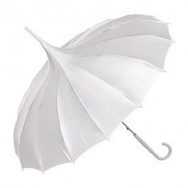 Pagode paraplu glanzend wit satijn - De Vreemde Eend