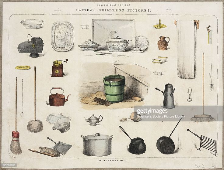 Lithograph showing items used in a Victorian household, many of which are still used today; pots, pans, brushes, coal scuttle, coffee mill, bucket, saucepans, brooms, dustpan and brush, kettle, dishes, roller towel, saw, teapot, sieve, tureens etc. From �Darton�s Children�s Pictures�.