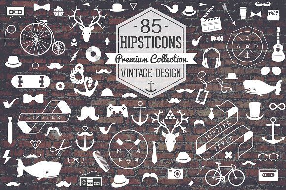 Retro Hipster Icon Set by CloverAndCrow on @creativemarket