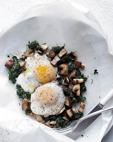 Eggs with Mushrooms and Spinach - Martha Stewart Recipes - I do this all the time but by letting the eggs wilt the spinich and the yolk act as dressing.  add crushed red pepper and parm its a quick healthy dinner for one.