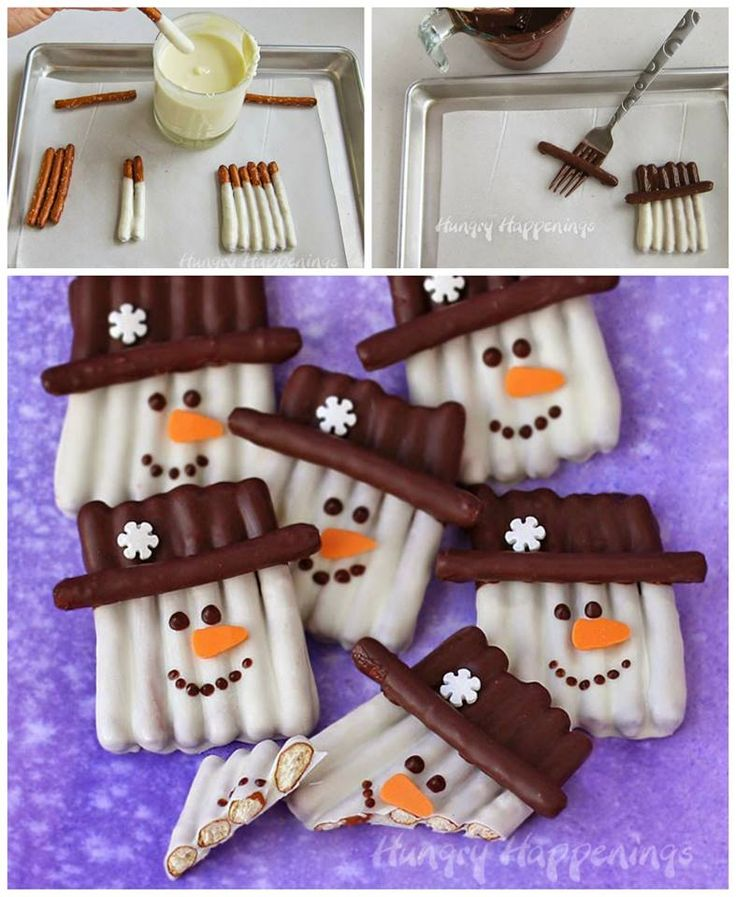 SNOWMAN PRETZEL TREATS...these are adorable & so easy to make!  http://hungryhappenings.com/2015/01/chocolate-pretzel-snowman-craft.html/