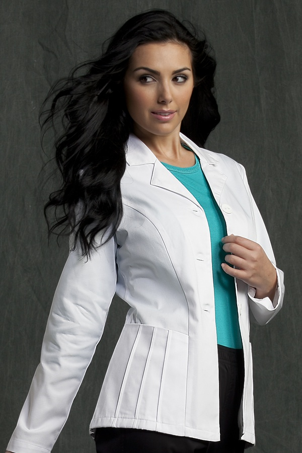 """8651 28"""" Lab Coat - Peaches Uniforms from Scrub Couture  65% Poly 35% Cotton Twill  28"""" 3 button jacket  Princess seams for added fit  Pleating detail for added fashion  Roomy jackets  XS-3X  LENGTH: 28""""  $33"""