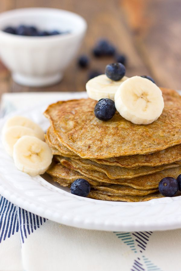 Banana Egg Almond Butter Pancakes. Delicious, easy protein-packed pancakes swirled with almond butter. {Grain-Free, Dairy-Free}