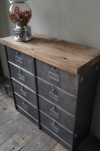 meuble console 8 casiers industriel clapet Roneo plateau chene massif
