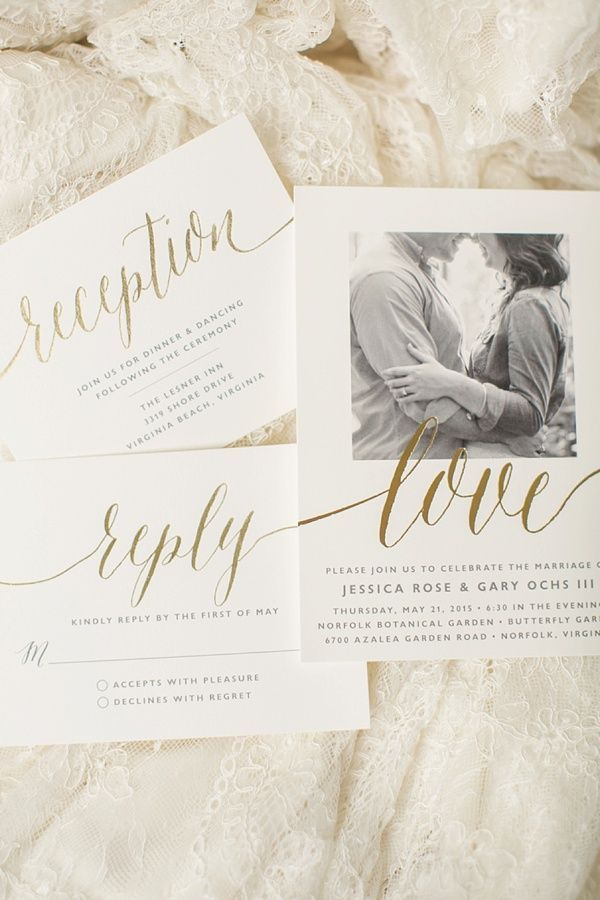 Classic calligraphy and gold foil for wedding