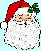 Cute Christmas Countdown Idea.  Add a cotton ball everyday until Christmas to fill in Santa's beard