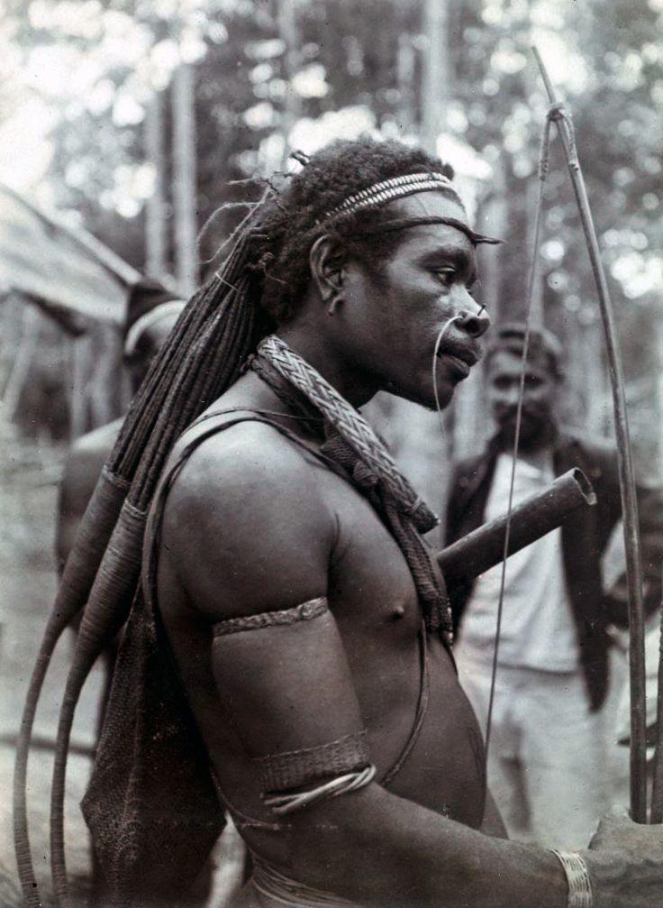 Papua (Indonesia) ~ Merauke regency, Digul river region   Portrait of a Digul man   ca. 1909   Photographer O G Heldringstraat