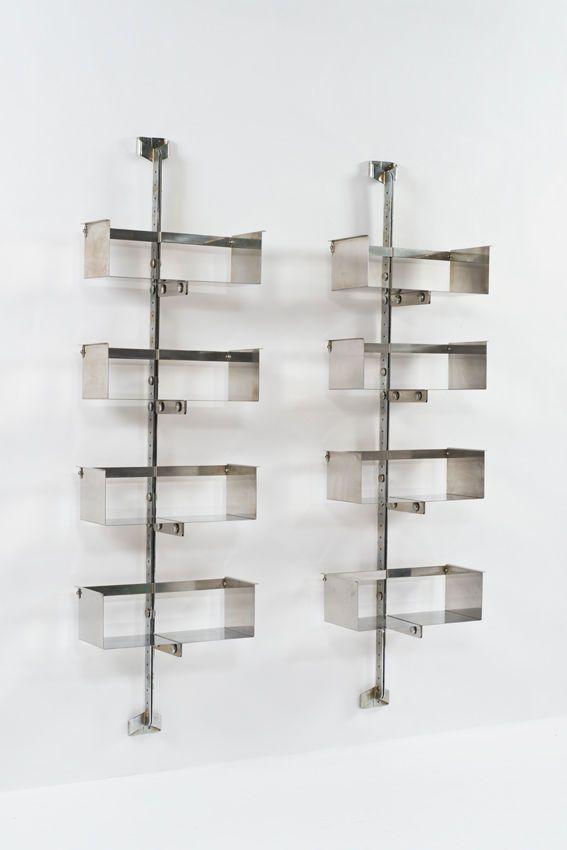 Vittorio Introini; #P700 Chromed-Metal Wall-Mounted Shelves for Saporiti, 1969.