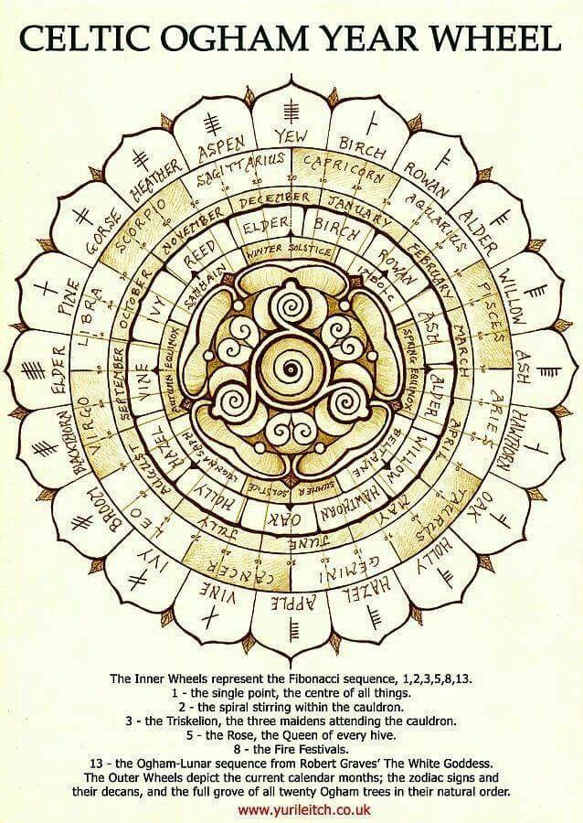 Celtic Ogham Year Wheel Print by Yuri Leitch