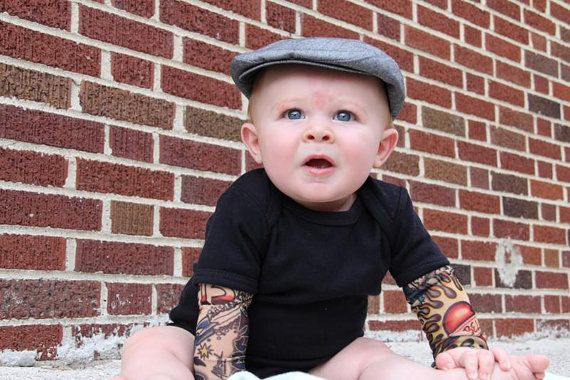 Tattoo sleeved onesie in black--infants - @Cristen Pascucci I think you need to put this on your baby board....