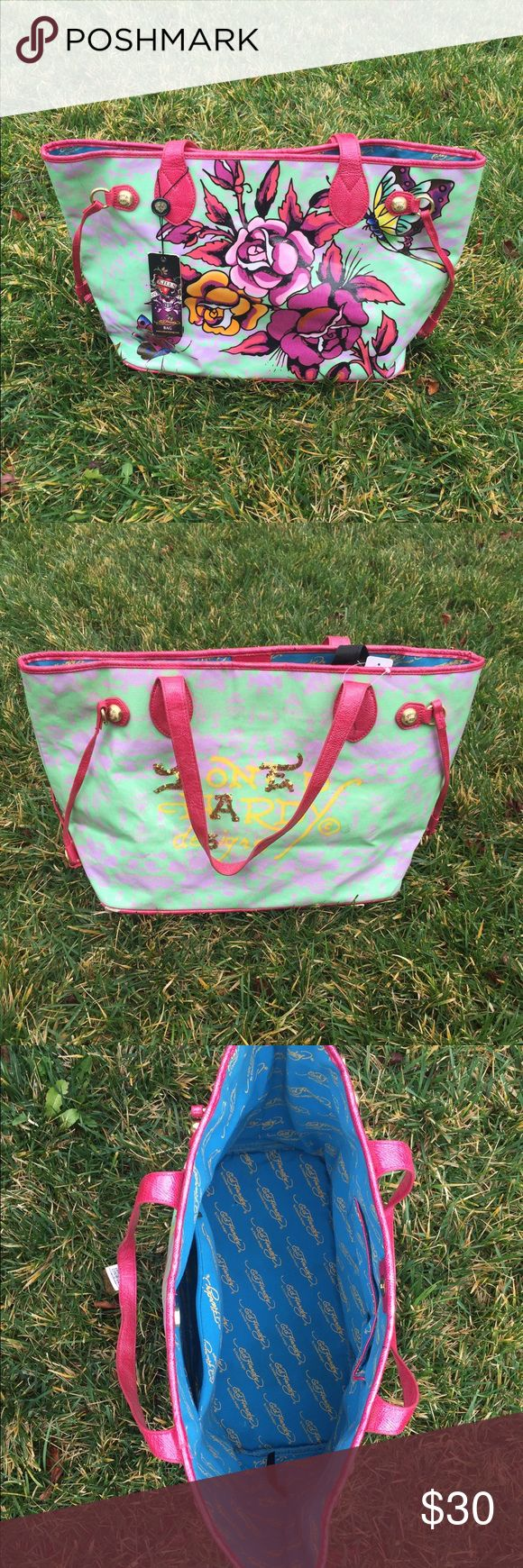 Selling this Ed Hardy by Christina Aguilera XL Tote Bag NWT on Poshmark! My username is: mygirls1618. #shopmycloset #poshmark #fashion #shopping #style #forsale #ed hardy  #Handbags