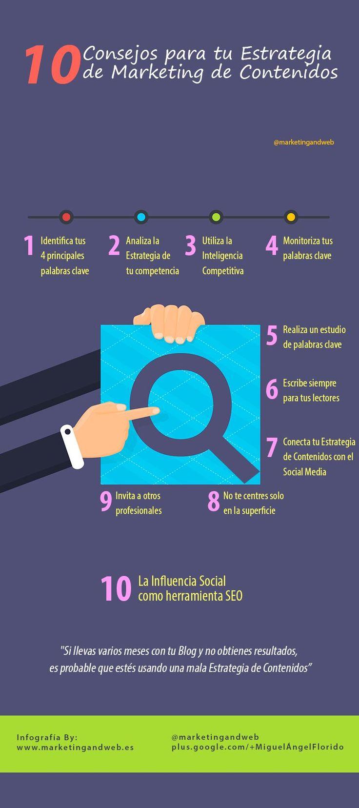 Excelente infografía, en español, con 10 útiles consejos para mejorar nuestra estrategia de Marketing de Contenidos. Si eres blogger no dejes de leerla.