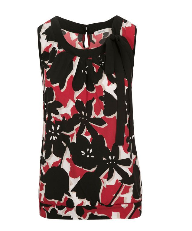 Tie Neck Banded Bottom Top, Poppy Red  Print