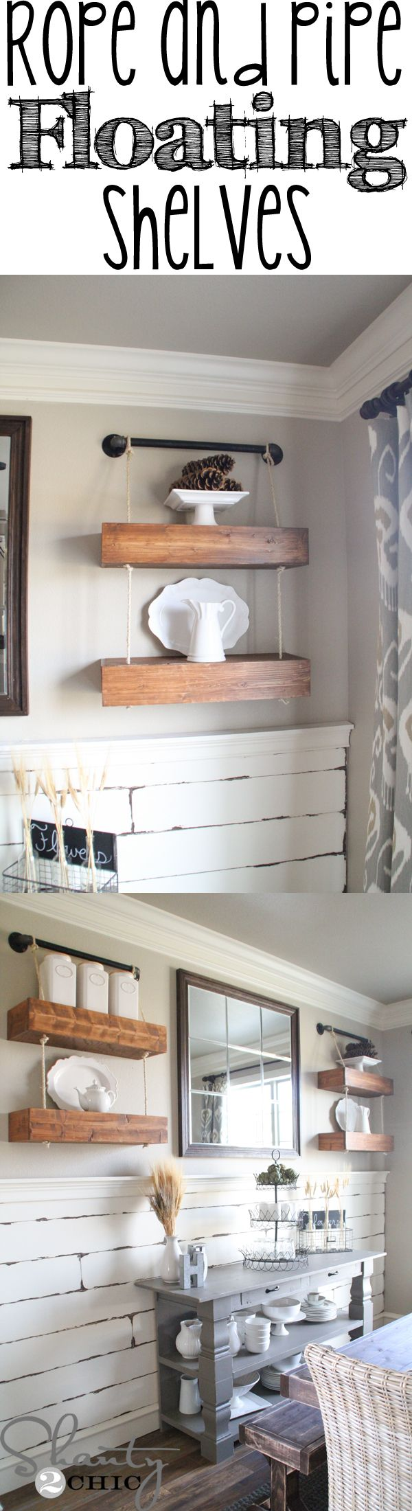 Make these easy DIY Floating Shelves with Pipe and Rope! Love this look!