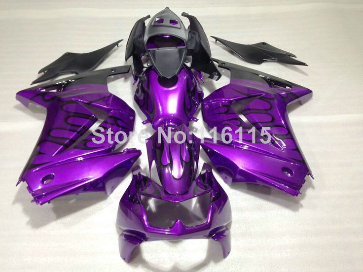 ==> [Free Shipping] Buy Best Fairings set for Kawasaki Ninja 250r 2008-2014 black flames purple injection molding 08-14 high grade fairing kit ZX250 NZ23 Online with LOWEST Price | 32657392194