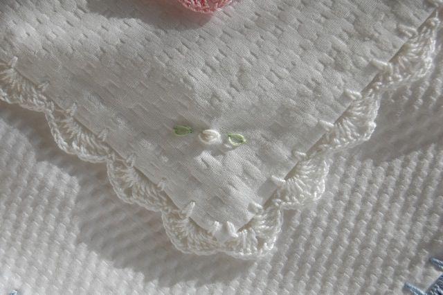 Baby Blanket Plisse White Crochet Edging Onto Easy Care