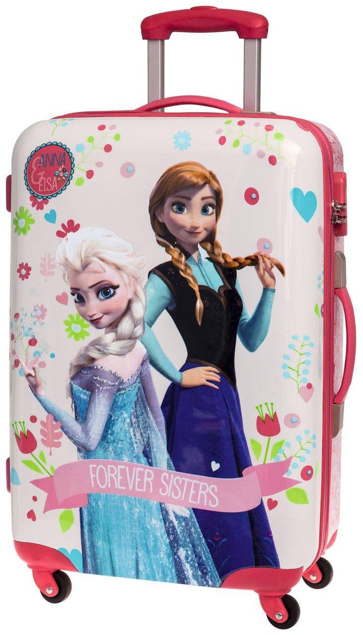 Maleta mediana de Frozen el reino de hielo, nos presenta su maleta de cuatro ruedas con las hermanas Elsa y Anna