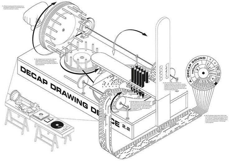 broos decap drawing device record sleeves dance organ music