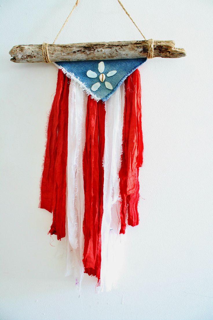 Puerto Rican Natural Driftwood Flag with Sea by GitanaDeLaPlaya
