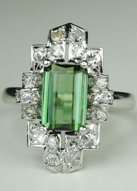 Art Deco Tourmaline and Diamond Ring, 1920s