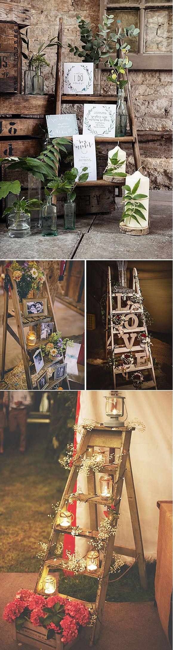 Escaleras de madera como elemento decorativo en bodas