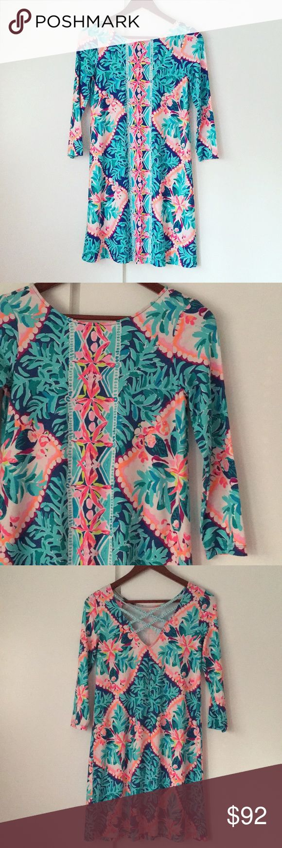 "Lilly Pulitzer Ophelia Dress Gorgeous Lilly Pulitzer Ophelia Dress in Seaside Aqua, print is Coconut Cove. Very flattering swing style with open strapped back. Super cute and comfy. Brand new, never worn. Last pic from site to show fit. 35"" long, 17"" armpit to armpit. Offers via offer button only please. Bundle with other Lilly in my closet for a discount!  Condition: New, never worn  🚫NO TRADES🚫 ❌ NO TRY ONS ❌ Please ask any questions prior to purchasing. All sales final. Lilly Pulitzer…"