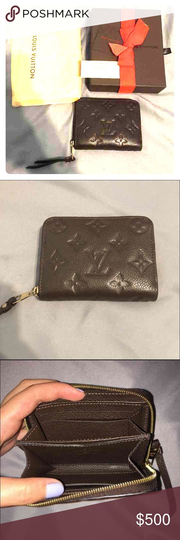 Louis Vuitton Empreinte Terre Zippy Coin Purse This is the empreinte or empriente Zippy coin purse in terre which is the earth brown color. 100% authentic, the wallet is in great condition and barely used. The hardware is nice and shiny and leather is amazing. Date code reads: TS4103 . Cute little compact wallet. NO TRADES Louis Vuitton Bags Wallets