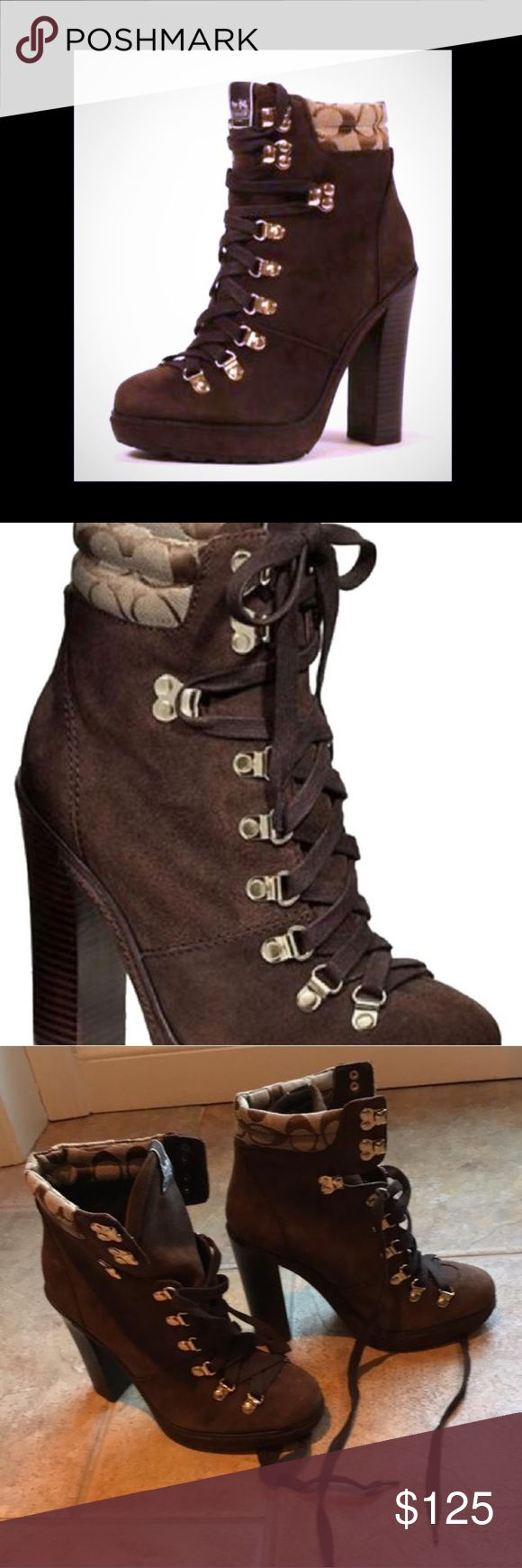 Coach platform ankle boots logo Brand new chocolate brown suede ankle boots with rubber lug sole Coach Shoes Ankle Boots & Booties