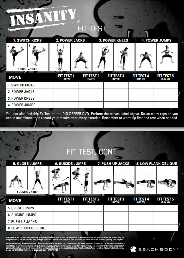 Insanity Workout Fit Test Just did this today!!!