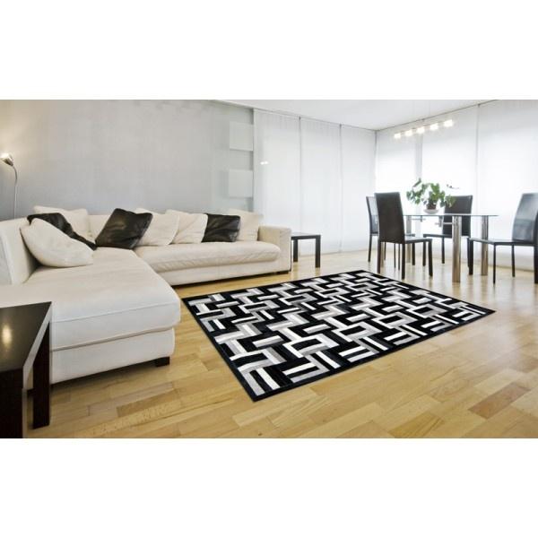 patchwork cowhide rug k-1735 night air nero horsy-grey-white  ORDER HERE: http://www.furhome.gr/shop/en/patchwork-cowhide-rug-k1735-181.html