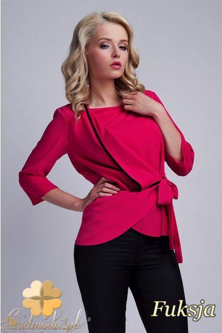 Kopertowa bluzka kobieca z zakładką marki Lanti.  #cudmoda #moda #ubrania #odzież #bluzki #styl #women