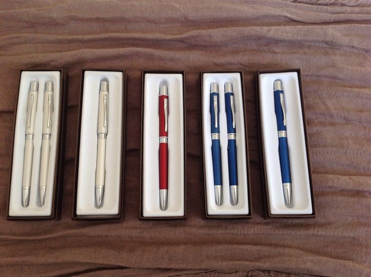 Cross Pen and Pencil Sets NIB White, Red and Blue with Chrome finish Great Gifts #Cross
