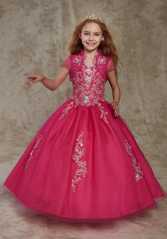 Fuchsia Little Girls Pageant Dresses Ball Gown With Jacket -3154