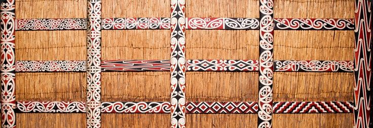 Heke (rafters) with kowhaiwhai patterns painted