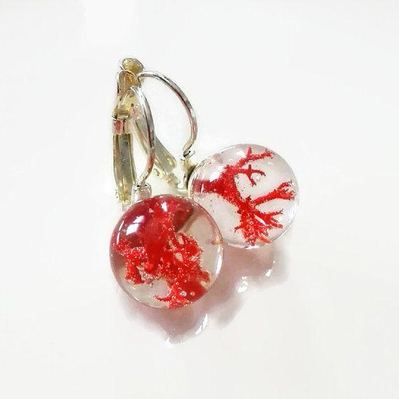 Red Coral Resin Earrings. Unique jewelry silver summer earrings moss ball sphere sea water orb classy designer jewelry natural statement by MyJewelsGarden Pressed Flowers Jewelry by Myjewelsgarden <3